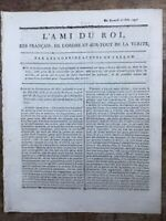 Louis 16 à l'assemblée Nationale 1791 Vincennes Bourbon Rare Journal Royaliste