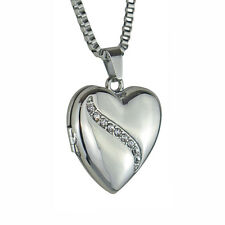 Crystal Wave Heart Locket - Memorial Keepsake Pendant - Engraving Available