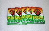 1991 BOWMAN BASEBALL BUBBLE GUM CARD PACKS LOT OF 5 PACKS