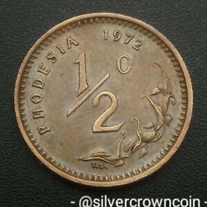 Rhodesia 1/2 Cent 1972. KM#9. Half Penny coin. Zimbabwe. Animals.