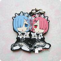 T183 Re Zero Kara Hajimeru Isekai Seikatsu Anime Rubber Strap Keychain Rem Ram