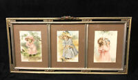 Antique Triple Panel Wood Picture Frame Silver & Gold Gilt Hand Painted Flowers