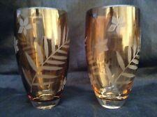 ICE TEA GLASS, HAND BLOWN, BROWN OMBRE, EMPRESSED FLORA DESIGN 24 OZ
