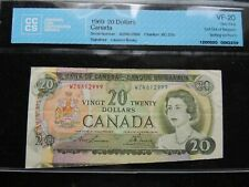 1969 BANK OF CANADA $20 TWENTY DOLLARS ERROR CUT OF REGISTER CCCS VF-20  BC-50b