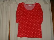 Women's Susan Graver Red Polka Dot Blouse Large