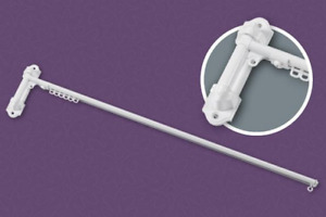 Dormer Rod white steel 20mm Diameter  61 cm long extending to 106cm 15 gliders