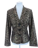 Chico's Womens Ruched Ruffled Leopard Print Bronze Blazer Jacket Sz 1 Medium 8