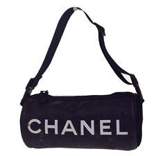 Authentic CHANEL Sport CC Logos Shoulder Bag Rubber Canvas Black Italy 66EB884