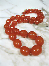 ANTIQUE BUTTERSCOTCH HONEY BALTIC AMBER OVAL BEAD NECKLACE 75.2 GRAMS 14K GOLD