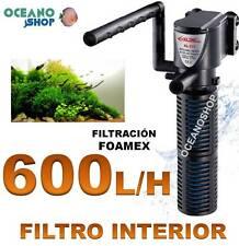 FILTRO INTERIOR 600l/h ACUARIO con FOAMEX 5W Tortuguera Gambario pecera INTERNO