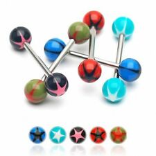 Lot de 8 piercing langue acrylique étoiles