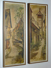 ALEX YAWORSKI MID-CENTURY MODERN ART PRINT PAIR OLD WORLD FRENCH STREET SCENES
