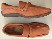 BORN Women Nubuck Rust Orange Leather Slip On Loafer Slip On Size 8 EU39 Shoe
