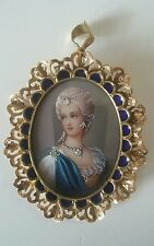 18 Kt Itay Corletto Hand Painted Victorian Cameo Precious Stones Pendant Brooch