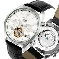Mens Tourbillon Luxury Skeleton Automatic Mechanical Calendar Leather Band Watch