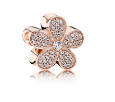 Sparkly Crystal Flower Rose Gold Daisy Charm Necklace Pendant DIY Jewelry Bead