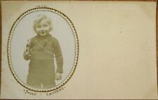 Doll/Toy Soldier & Little Boy 1907 Realphoto Hand-Made Postcard
