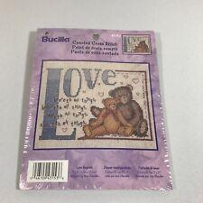 Bucilla Love Beareth Counted Cross Stitch Kit Teddy Bears Hearts Bible Verse NEW