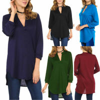S-5XL Women Summer V Neck T-Shirt Casual Long Sleeve Loose Blouse Tops Shirts
