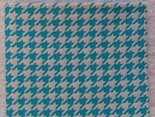 NEW & HTF Quilter's Showcase Modern TURQUOISE & WHITE HOUNDSTOOTH *100% Cotton*