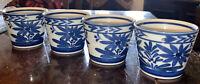 Vintage Japanese Blue-and-White Porcelain Lot Of 4 Tea Sake Cups FLORAL Design