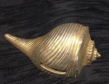 Vtg Mid Century Ted Arnold Ltd. Sea Shell Conch Stamp Dispenser Goldtone Brass