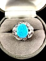 DAZZLING 925 STERLING SILVER BLUE OPAL CUBIC ZIRCONIA BAGUETTE COCKTAIL RING 6.5