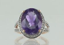Hallmarked 9ct Rose Gold Amethyst and Diamond Large Cluster Ring
