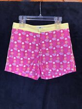 Girl's Size12 OLD NAVY Beach Shorts Pink W/ Yellow Flowers & White Fish Pockets