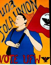 UNA SOLA UNION - VOTE UFW POSTER - UNITED FARM WORKERS 1970'S - RARE ORIGINAL
