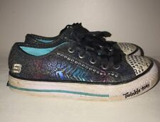 SKECHERS TWINKLE TOES Black Diamond Cheetah leopard Sneakers Girls Shoes Sz 2 #j