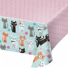 "Purr-Fect Kitty Cat Party Plastic Banquet Tablecloth 54"" x 102"" Girls Birthday"