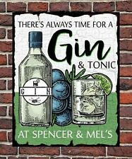 PERSONALISED RETRO GIN & TONIC PARLOUR METAL WALL SIGN GIFT PRESENT VINTAGE 1950