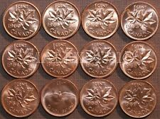 1960 TO 1969 BU CANADA 1 CENT MINT STATE (12 COINS) >>FREE $HIPPING IN CANADA!<<