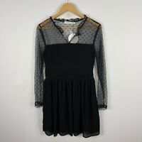 Atmos & Here Dress Womens 14 Petite Black Long Sleeve V-Neck