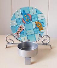 Sea Life METAL tealight candle holder, Glass Backboard, 10 cm Tall, Coloured Fish