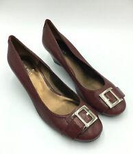 Nine West Theadoreo Leather Wedge Pump Buckle Burgundy Women Size 11B