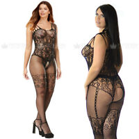 Plus+ UK 6-26 Crotchless Nightie Bodystocking Fishnet Open Crotch Lingerie Sassy