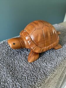 """Wood Turtle Puzzle Secret Box Lined Trinkets Wooden Carved 7""""x4"""""""