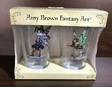 New Set of 2 Amy Brown Green & Purple Whimsical Faery (Fairy) Pint Glasses
