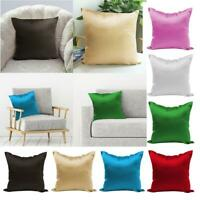 Satin Silk Solid Color Sofa Waist Sofa Car Cushion Cover Pillow Case Home Decor