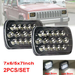 Pair Fit For 1984-2001 Jeep Cherokee XJ 5X7 7x6'' LED Headlight Hi/Lo Beam Black
