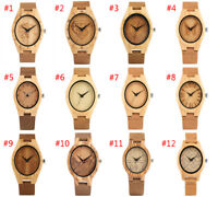 Wooden Watch Handmade Natural Wood Leather Strap Bamboo Quartz Watches for Men