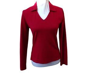 Laura Ashley Red Sweater Jumper Fleece Size M