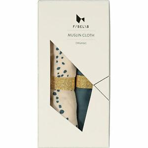 FABELAB Two Pack Ocean Spray Organic Muslin Cloth Set Baby Scandinavian Design