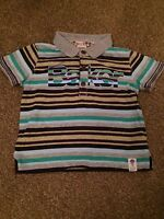 Boys Ted Baker Grey Purple Short Sleeve Striped T-Shirt Age 9-12 Months B1