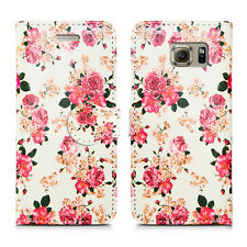 Buy 1 Get 1 Leather Wallet Flip Book Style Phone Case Cover for LG Stylus 2 Roses on White - Pink Cream Flower Bloom Pretty