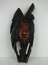 Rastafarian Mask Wall Hanging Vintage Carved Wood Authentic Natural Rasta Face