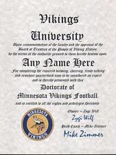 Minnesota Vikings Fan Must Have ~ Certificate ~ Diploma ~ Man Cave New