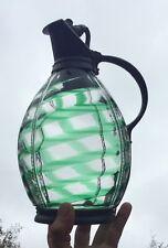 English Czech Art Glass Green Swirl Art Nouveau Signed Silver Plate Pitcher